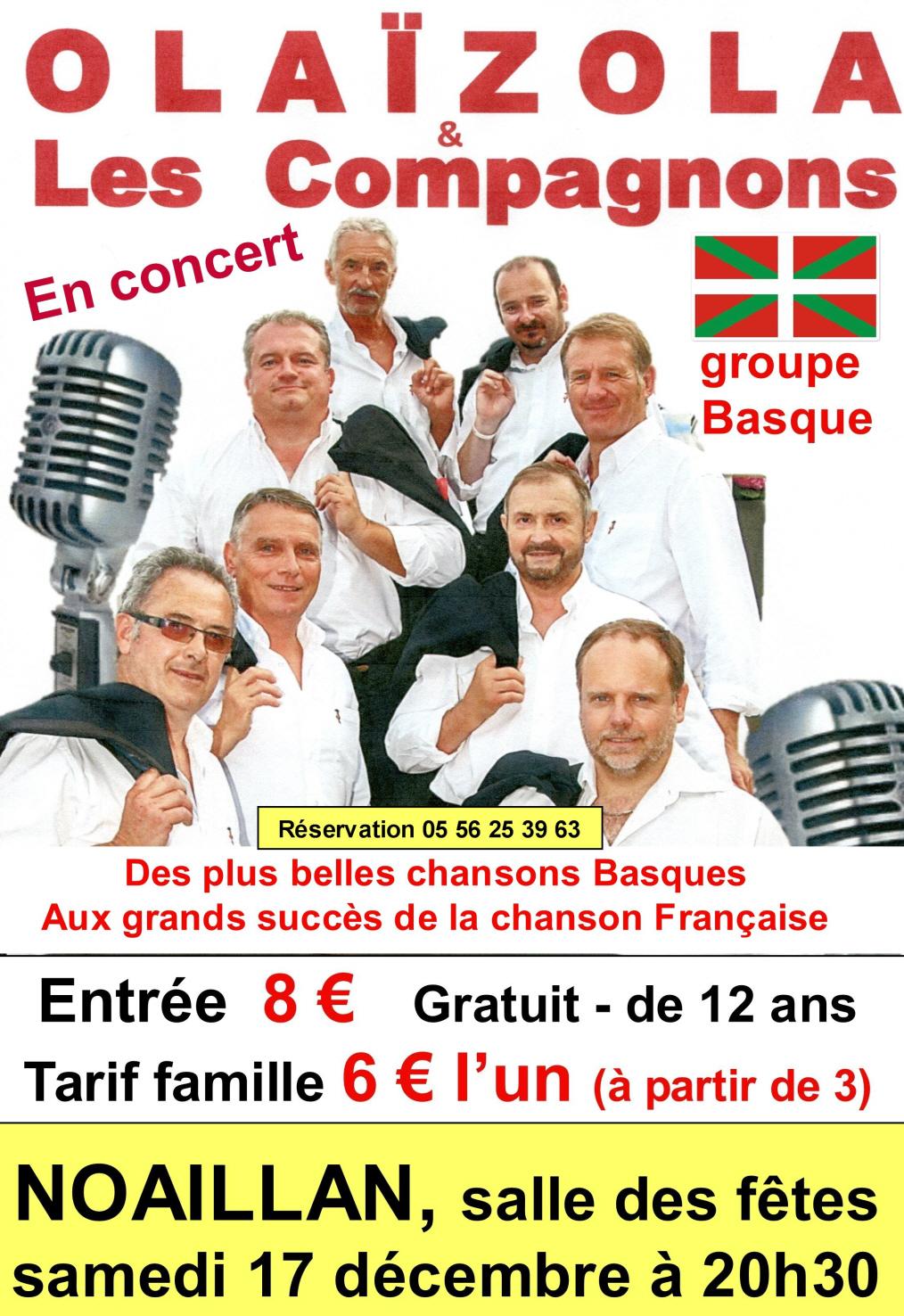 """Grand concert """"Olaizola et Les Compagnons"""" @ Salle des fêtes"""